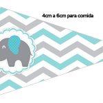 Bandeirinha Sanduiche 1 Elefantinho Chevron Cinza e Azul Turquesa Kit Festa