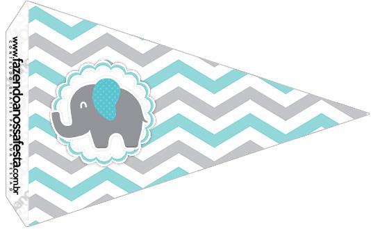 Bandeirinha Sanduiche 2 Elefantinho Chevron Cinza e Azul Turquesa Kit Festa