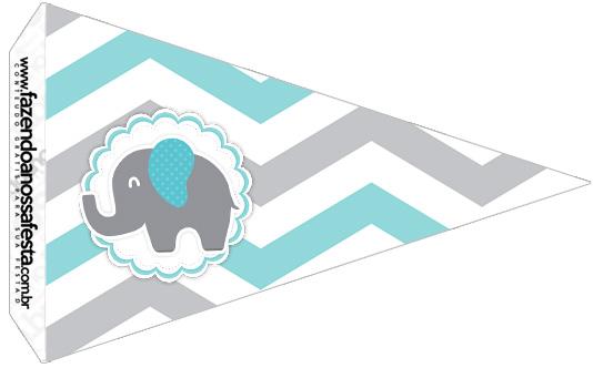 Bandeirinha Sanduiche 3 Elefantinho Chevron Cinza e Azul Turquesa Kit Festa