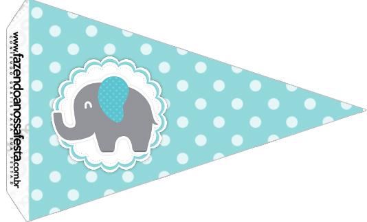 Bandeirinha Sanduiche 4 Elefantinho Chevron Cinza e Azul Turquesa Kit Festa