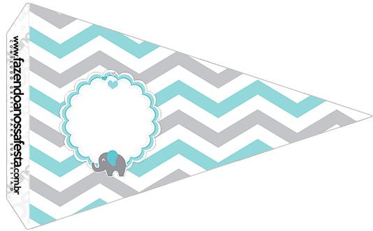 Bandeirinha Sanduiche 5 Elefantinho Chevron Cinza e Azul Turquesa Kit Festa