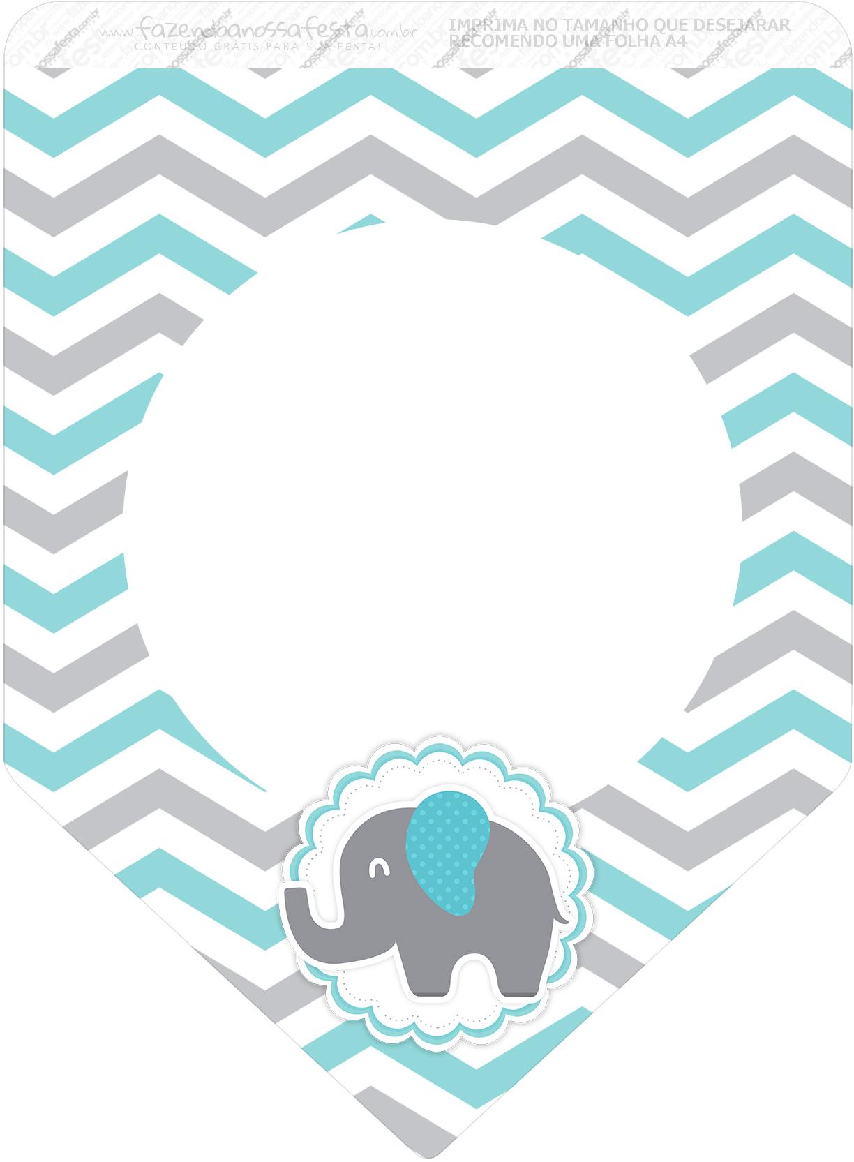 Bandeirinha Varalzinho 3 Elefantinho Chevron Cinza e Azul Turquesa Kit Festa