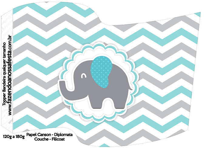 Bandeirinha Varalzinho Elefantinho Chevron Cinza e Azul Turquesa