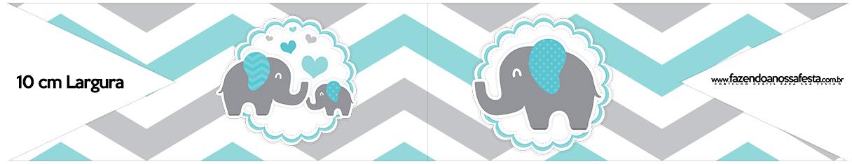Bandeirinha para Sanduiche Elefantinho Chevron Cinza e Azul Turquesa Kit Festa