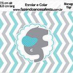 Bisnaga Brigadeiro 15gr Elefantinho Chevron Cinza e Azul Turquesa