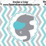 Bisnaga Brigadeiro 30gr Elefantinho Chevron Cinza e Azul Turquesa