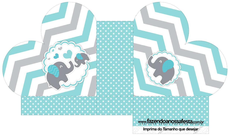 Caixa Coração Elefantinho Chevron Cinza e Azul Turquesa