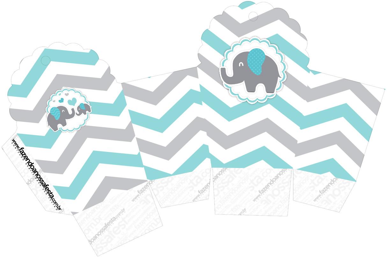 Caixa Cupcake Elefantinho Chevron Cinza e Azul Turquesa