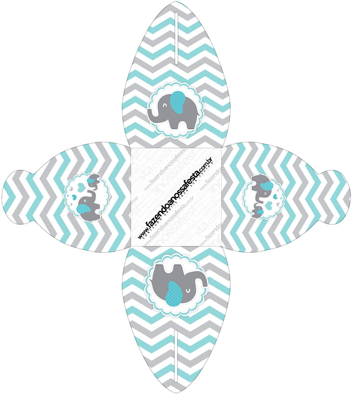 Caixa Elefantinho Chevron Cinza e Azul Turquesa