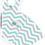 Caixa Fatia Elefantinho Chevron Cinza e Azul Turquesa