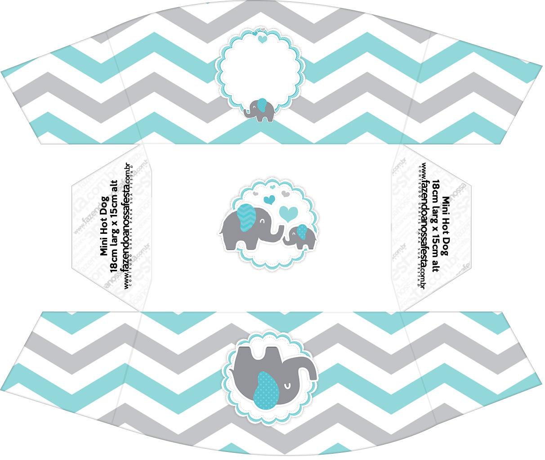 Caixa Mini Cachorro quente Elefantinho Chevron Cinza e Azul Turquesa