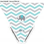 Caixa Pirâmide Elefantinho Chevron Cinza e Azul Turquesa