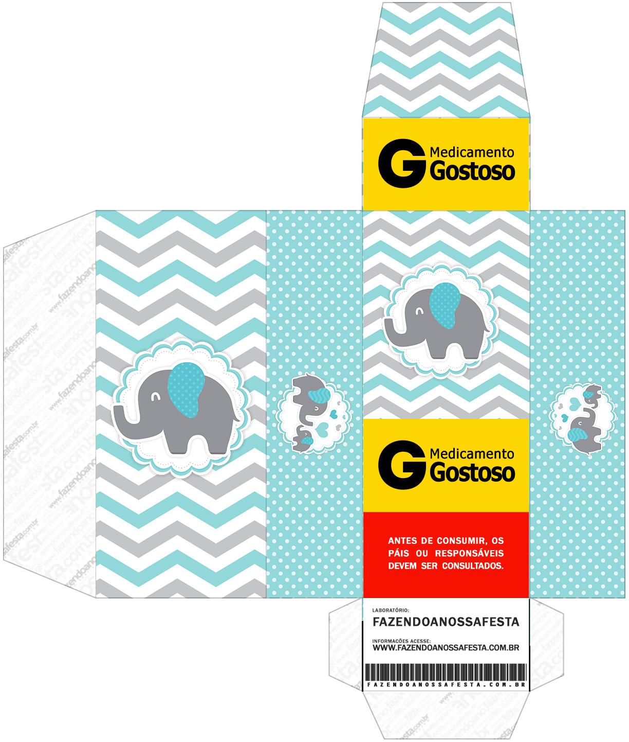Caixa Remedio Elefantinho Chevron Cinza e Azul Turquesa