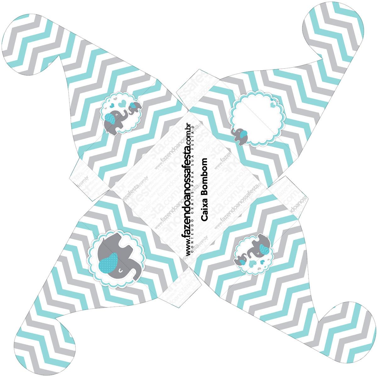 Caixa bombom pequeno Elefantinho Chevron Cinza e Azul Turquesa