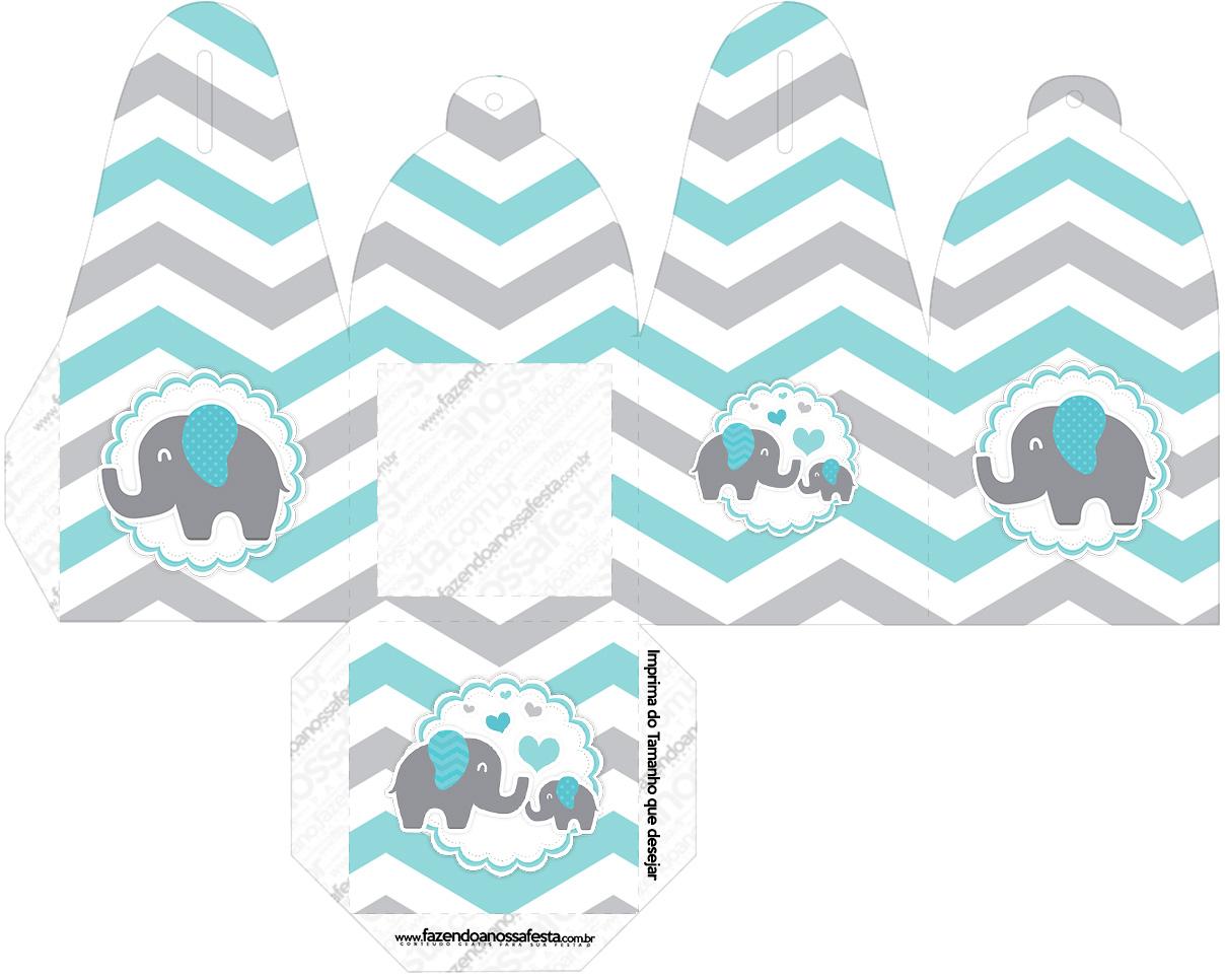 Caixa com Foto Elefantinho Chevron Cinza e Azul Turquesa