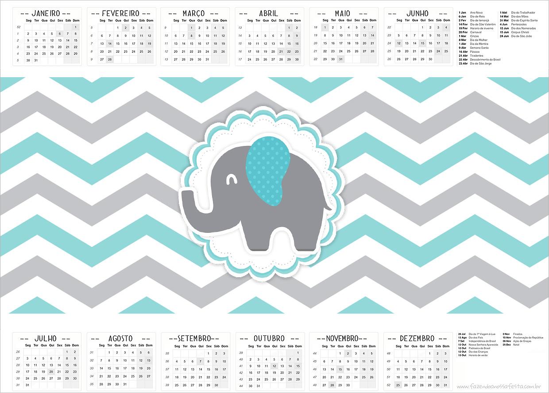 Calendário 2017 Elefantinho Chevron Cinza e Azul Turquesa