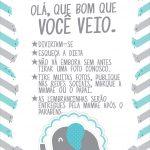 Cartão Agradecimento Quadro Elefantinho Chevron Cinza e Azul Turquesa Kit Festa