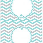 Cartão Agradecimento de mesa Elefantinho Chevron Cinza e Azul Turquesa