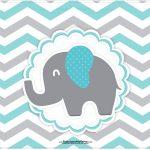 Cartão Elefantinho Chevron Cinza e Azul Turquesa
