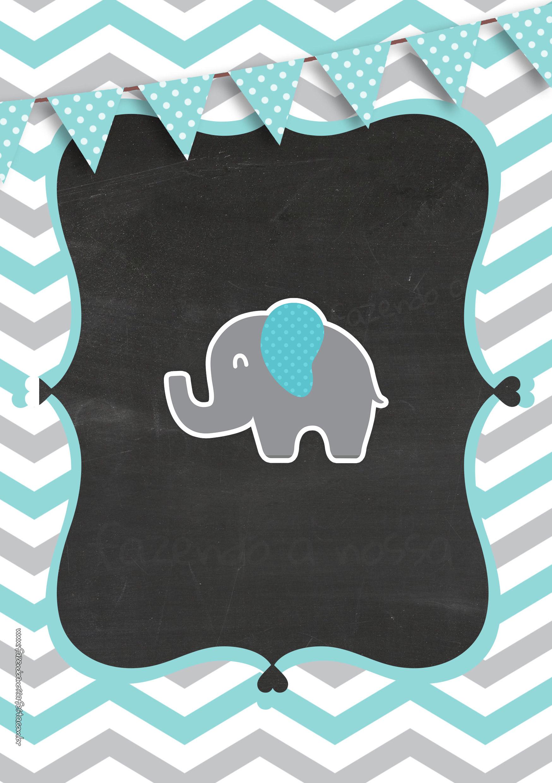 Chalkboard Elefante Chevron Cinza e Azul Turquesa