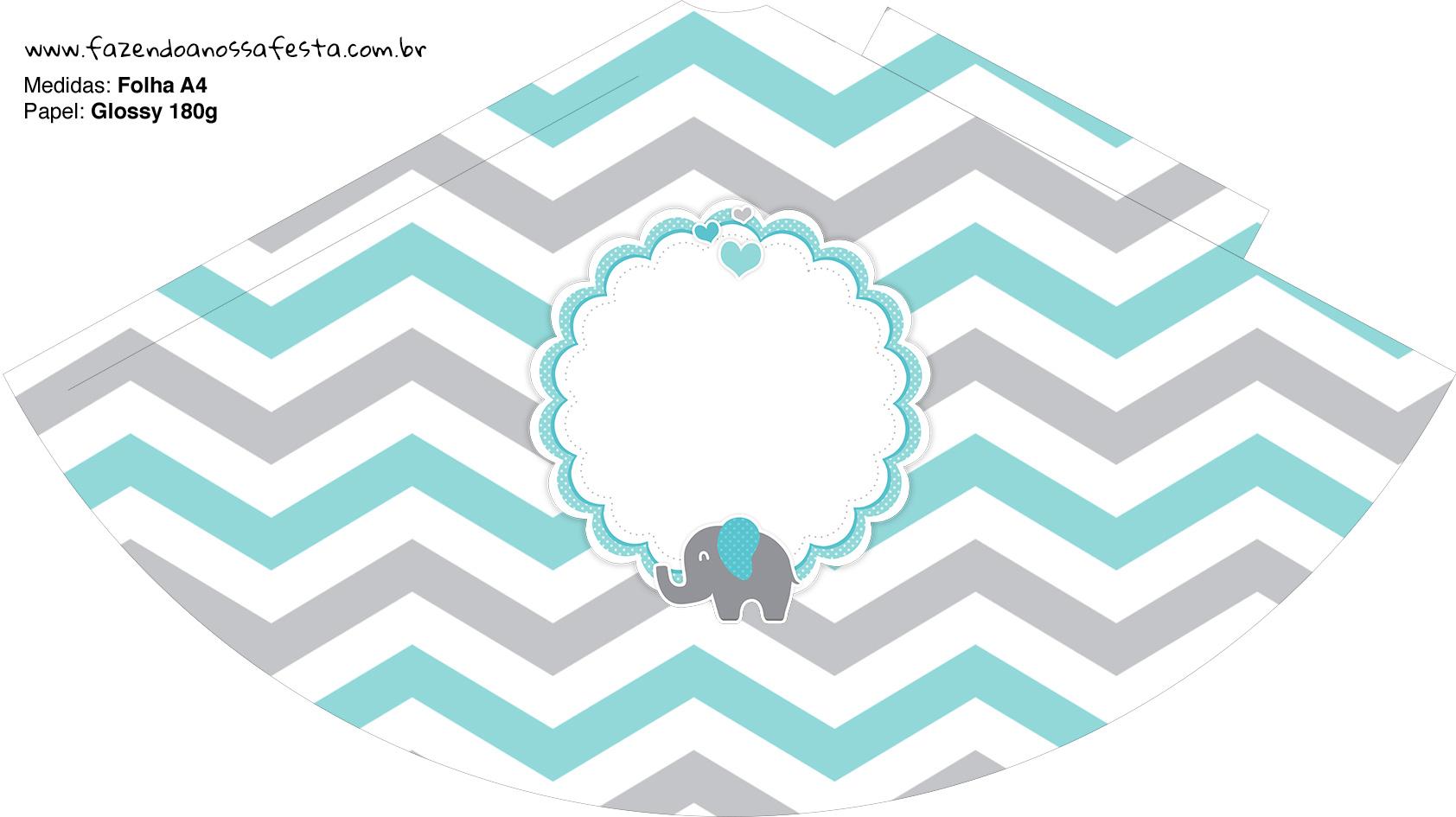 Chapeuzinho de Festa Elefantinho Chevron Cinza e Azul Turquesa