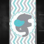 Convite Chalkboard Elefante Chevron Cinza e Azul Turquesa 2
