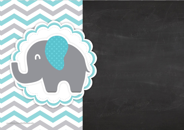 Convite Chalkboard Elefante Chevron Cinza e Azul Turquesa