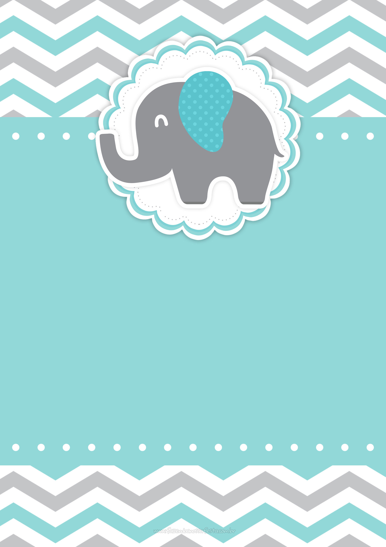 Convite Elefantinho Chevron Cinza e Azul Turquesa