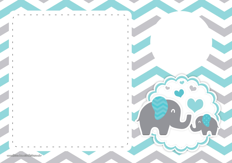 Convite Festa Elefante Chevron Cinza e Azul Turquesa 2