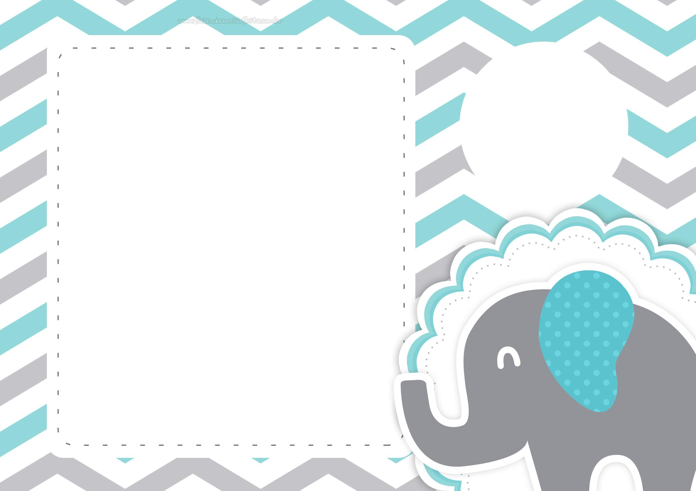 Convite Festa Elefante Chevron Cinza e Azul Turquesa 3