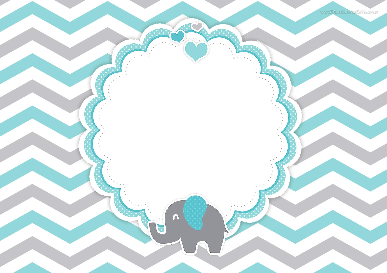 Convite Festa Elefante Chevron Cinza e Azul Turquesa