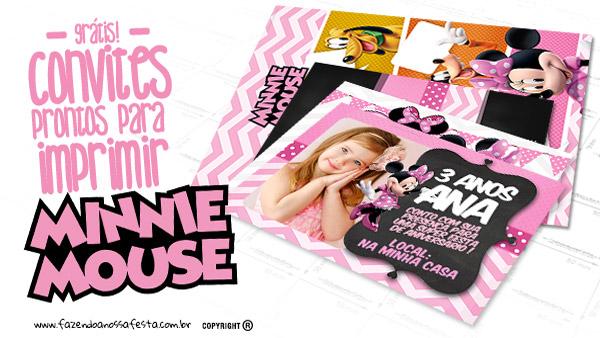 Convite Minnie Rosa Modelo