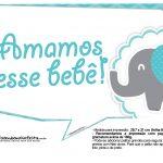 Plaquinhas divertidas Elefantinho Chevron Azul Turquesa 50
