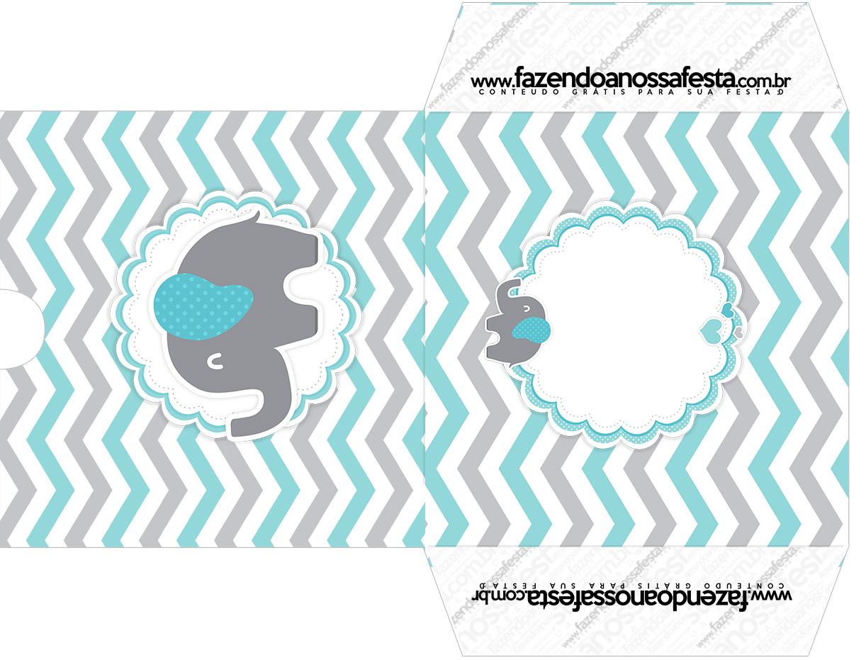 Envelope CD DVD Elefantinho Chevron Cinza e Azul Turquesa