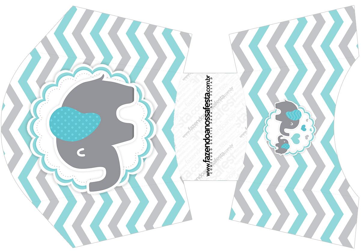 Envelope Fritas Elefantinho Chevron Cinza e Azul Turquesa