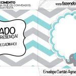 Envelope do Cartão Agradecimento Elefantinho Chevron Cinza e Azul Turquesa