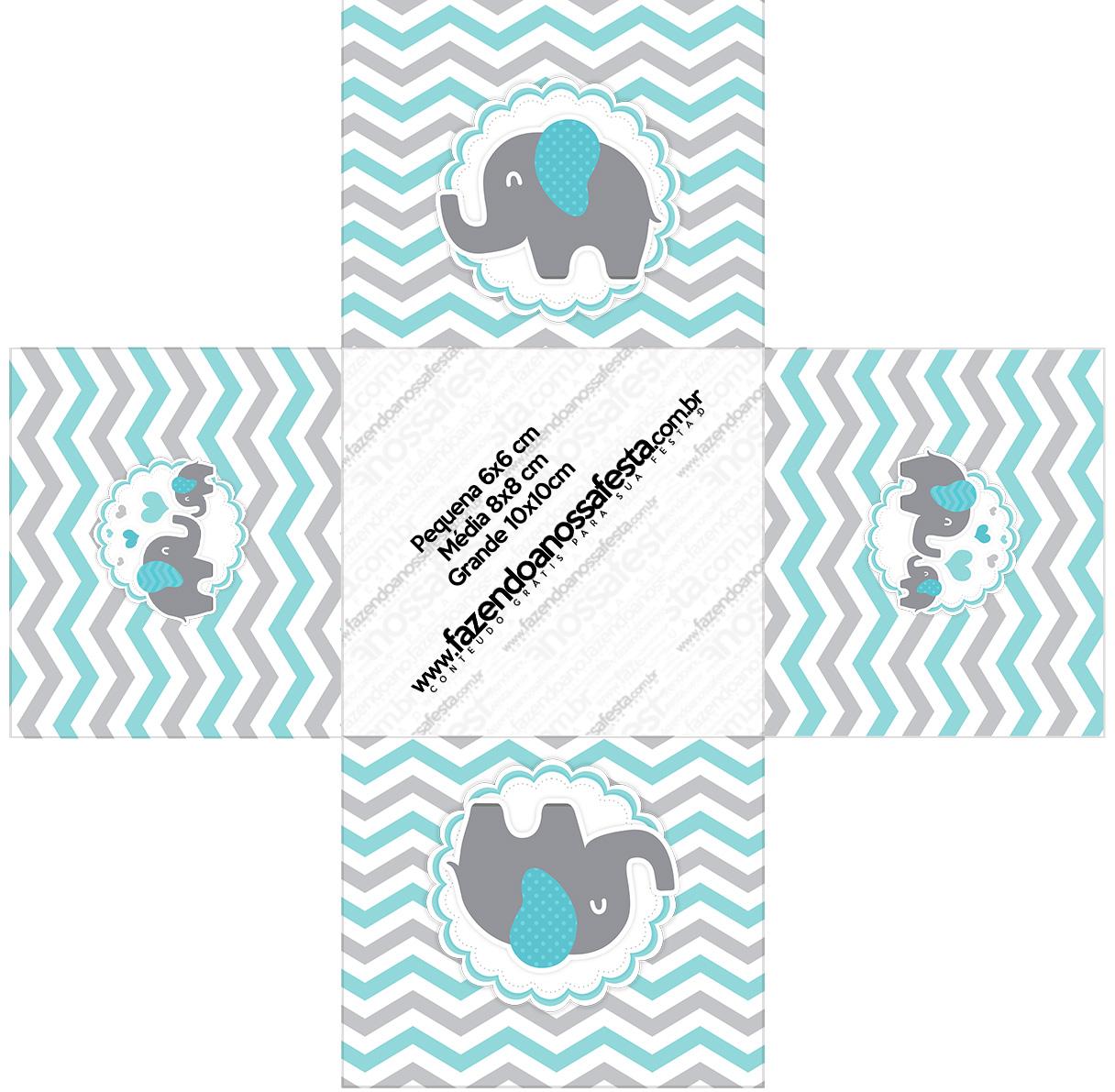 Forminha docinho quadrada Elefantinho Chevron Cinza e Azul Turquesa