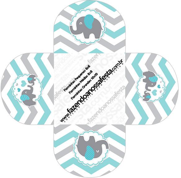 Forminhas Docinhos Elefantinho Chevron Cinza e Azul Turquesa