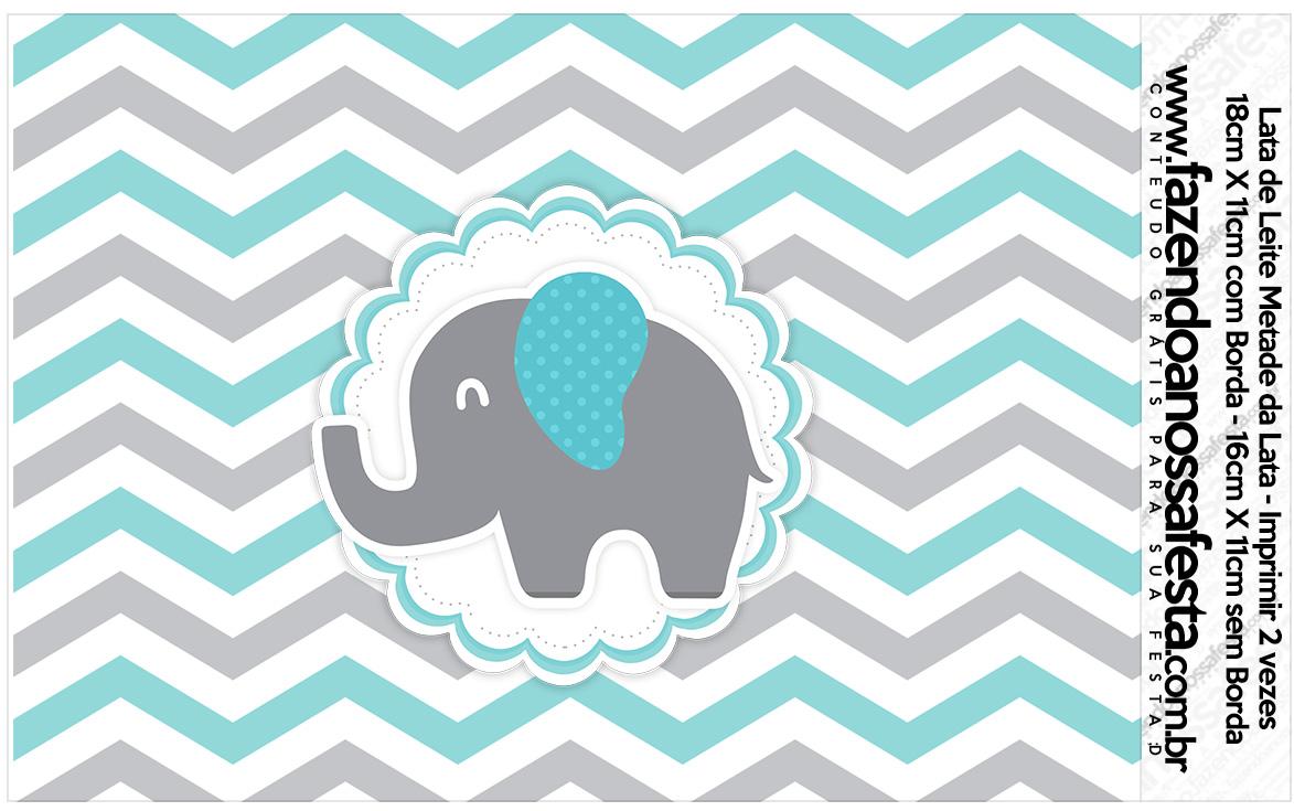 Lata de leite Elefantinho Chevron Cinza e Azul Turquesa