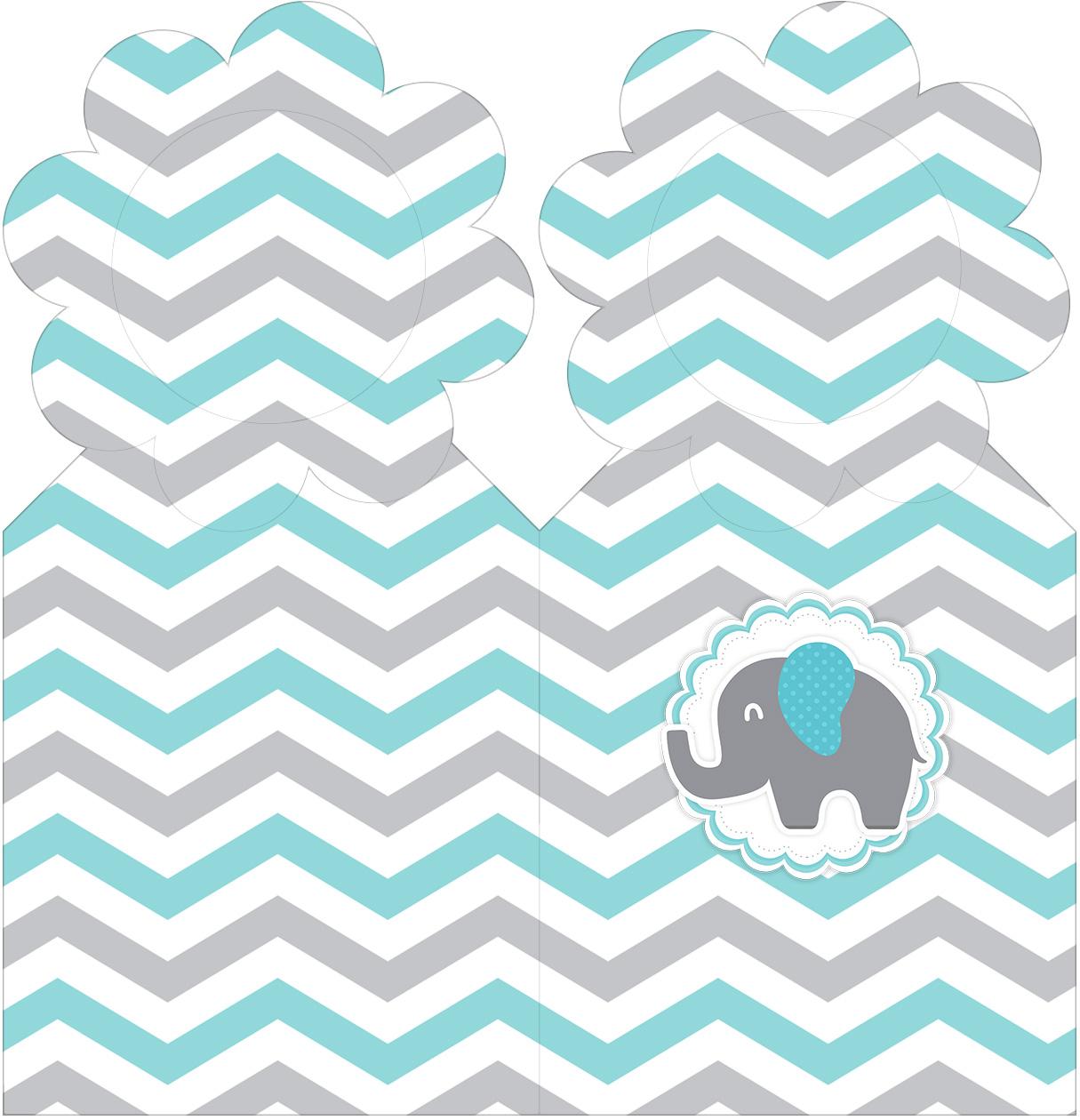 Marcador de Páginas Elefantinho Chevron Cinza e Azul Turquesa