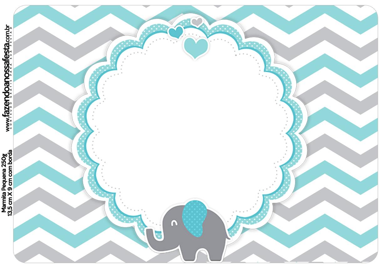 Marmitinha Grande Elefantinho Chevron Cinza e Azul Turquesa Kit Festa