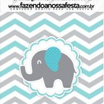 Mini Pastilha Docile Elefantinho Chevron Cinza e Azul Turquesa
