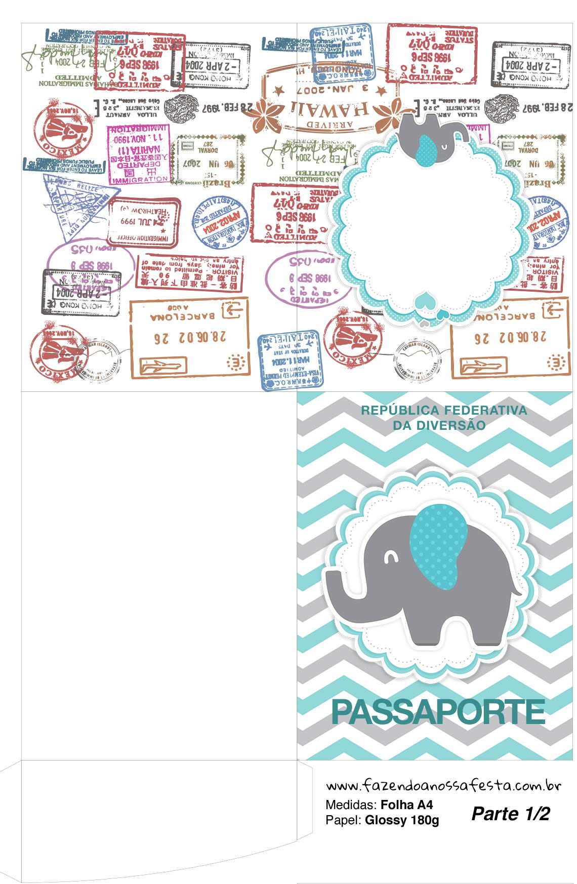 Molde Passaporte Elefantinho Chevron Cinza e Azul Turquesa Kit Festa