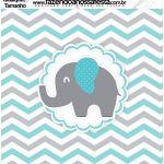 Molde Quadrado Elefantinho Chevron Cinza e Azul Turquesa