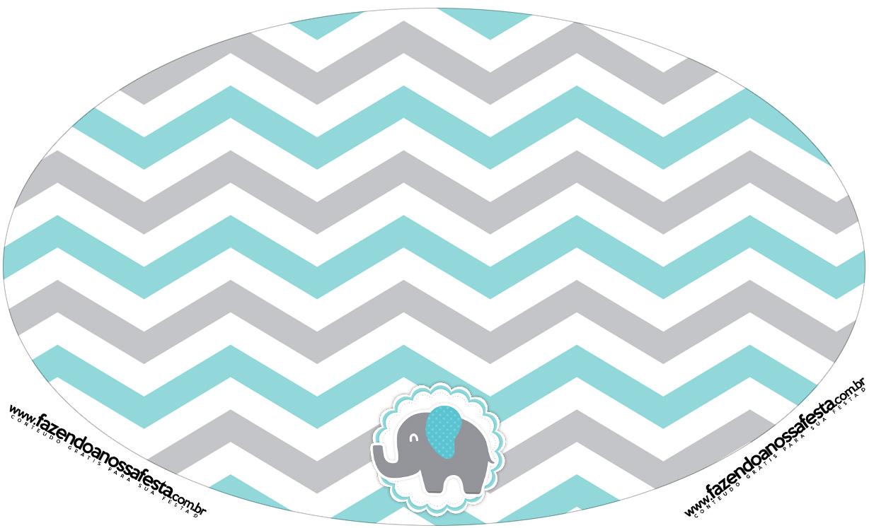 Placa Elipse Elefantinho Chevron Cinza e Azul Turquesa