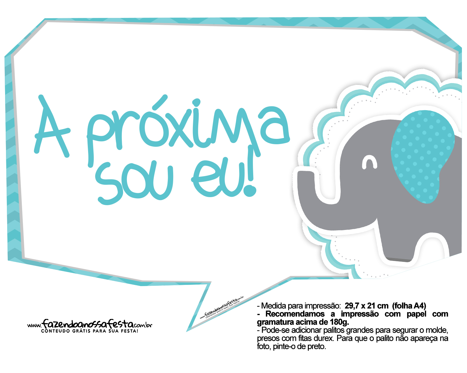 Plaquinhas Elefantinho Chevron Azul Turquesa 49