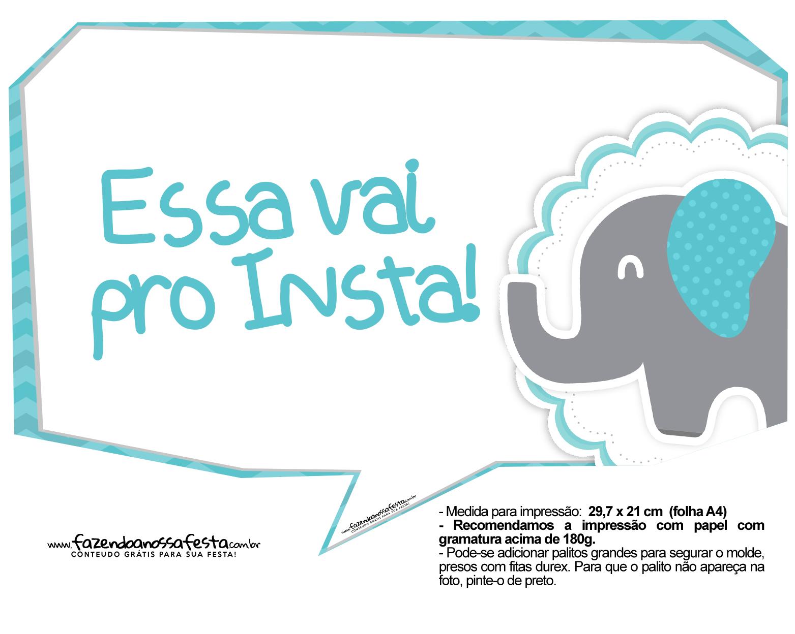 Plaquinhas Elefantinho Chevron Azul Turquesa 51