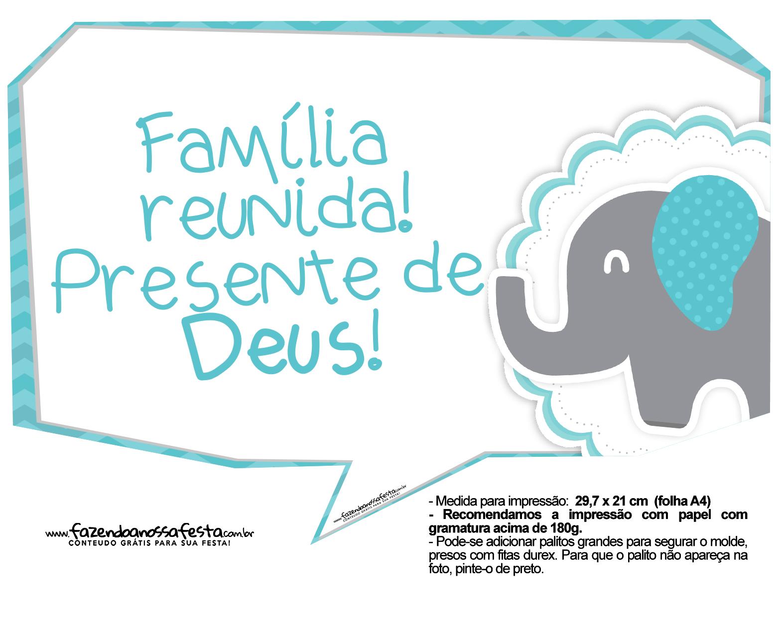 Plaquinhas Elefantinho Chevron Azul Turquesa 58