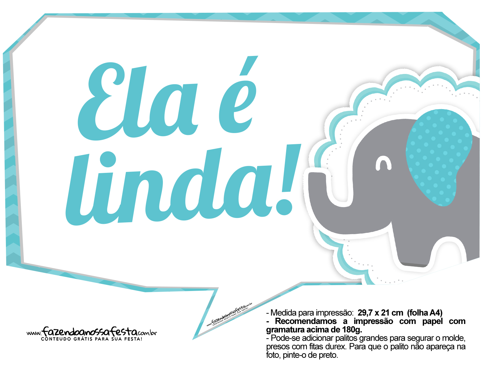 Plaquinhas divertidas Elefantinho Chevron Azul Turquesa 1