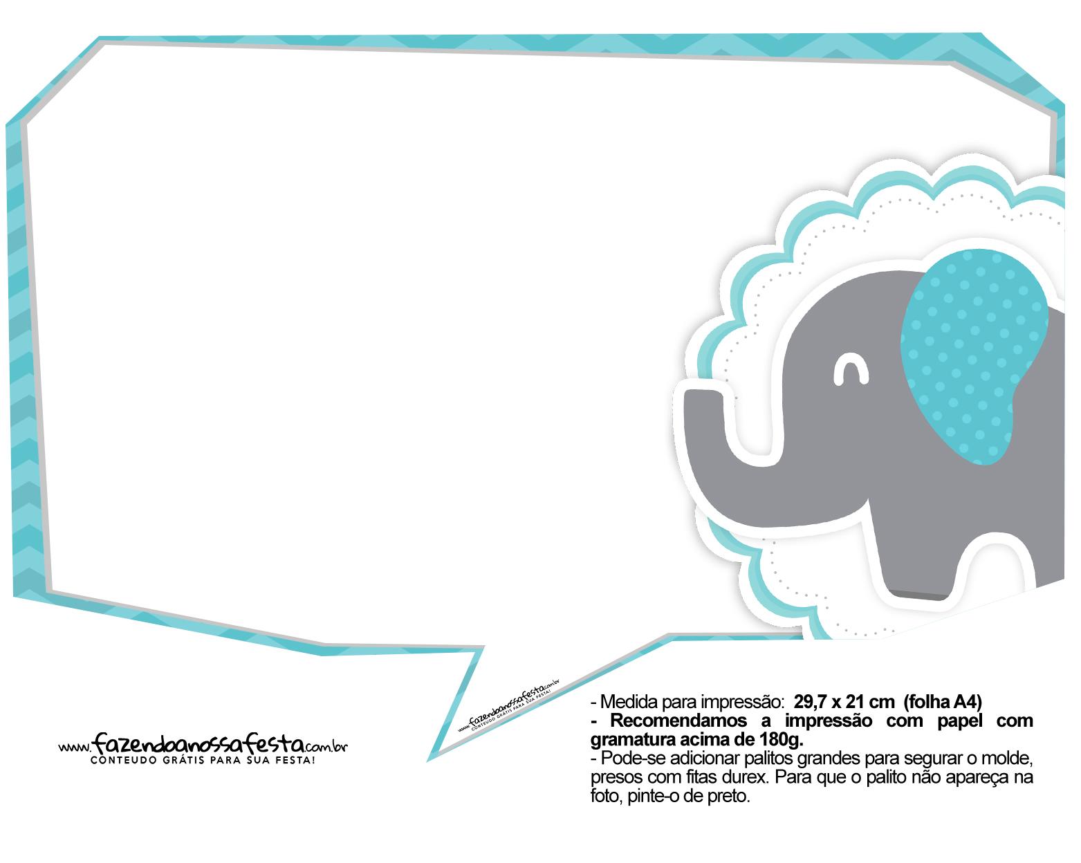 Plaquinhas divertidas Elefantinho Chevron Azul Turquesa 10